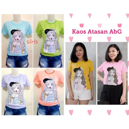 Foto Produk Kaos ABG Cewek - kaos anak remaja perempuan - kaos mickey - helokitty - Girls dari Grosir Baju Anak Winstar