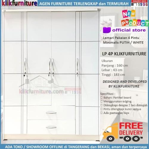 Foto Produk Lemari Pakaian Baju 4 Pintu + Cermin Full Putih LP4P Klikfurniture dari klikfurniture