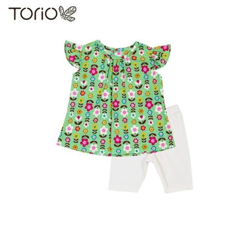 Foto Produk Torio Green Floral Outwear Set - Baju Anak Setelan Anak Perempuan - 3-6 bulan dari Torio