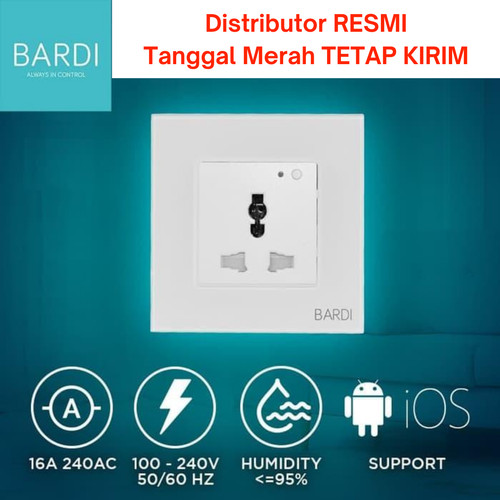Foto Produk BARDI Smart Wall Socket Wifi UNI White/Black - Putih dari Bardi Jakarta Official