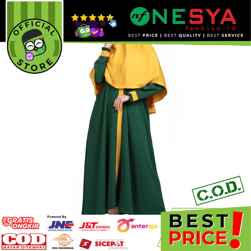 Foto Produk Garsel Fashion ~ Gamis Wanita / Gamis Muslim ~ BRH 0257 - Hijau, XXL dari nf_nesyafashion