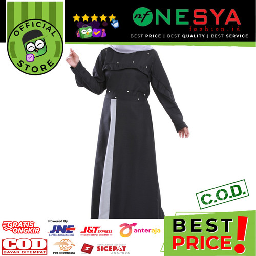 Foto Produk Garsel Fashion ~ Gamis Wanita / Gamis Muslim ~ FRH 0237 - Hitam, XL dari nf_nesyafashion