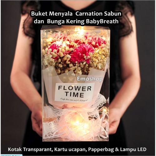 Foto Produk BUKET BUNGA Kering & Mawar Sabun MENYALA kado anniversary,wisuda,ultah dari Emo Shop