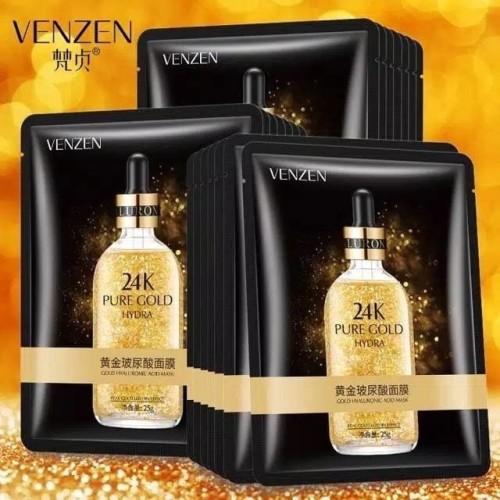 Foto Produk Venzen 24K Pure Gold Hyaluronic Acid Facial Sheet Mask Masker Wajah Wa dari Bursa Cosmetik Murah