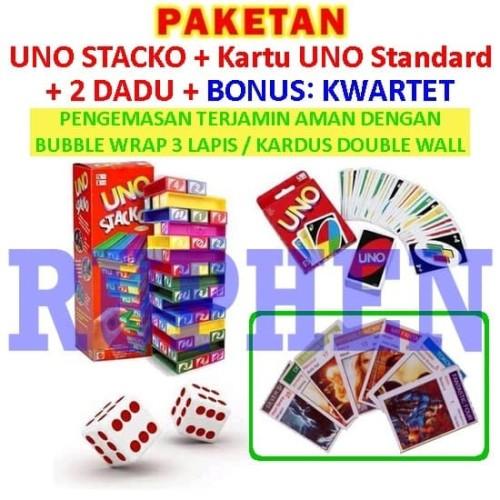 Foto Produk Paket UNO Stacko + Kartu / Card + Dadu / Dice Mainan Balok Seru dari Ruphen Shop
