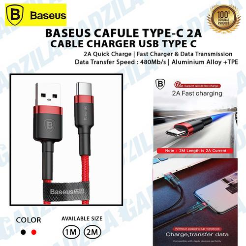 Foto Produk Kabel Data Usb Type C 2A BASEUS CAFULE Cable Charger Type-C 2Meter - Merah, 1METER dari GADZILA STORE