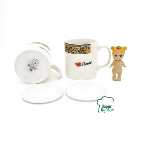 Foto Produk 2 Pcs Cangkir + Tutup Love Mama Papa Motif BATIK / Mug Couple Set dari Dapur Ny.Bun