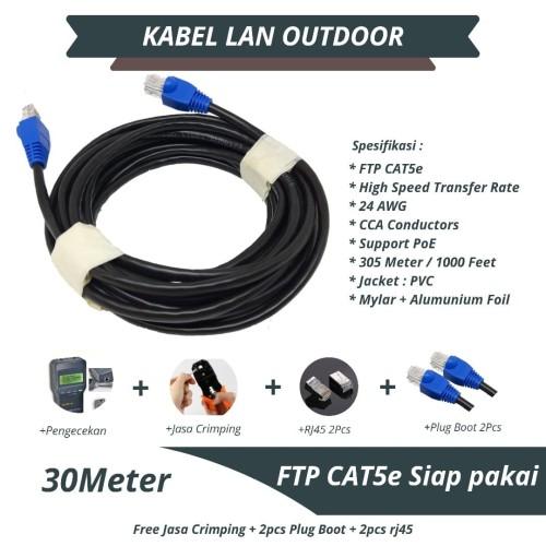 Foto Produk Kabel LAN STP FTP Cat5e Outdoor Panjang 30 Meter Siap Pakai dari 1firstlapak