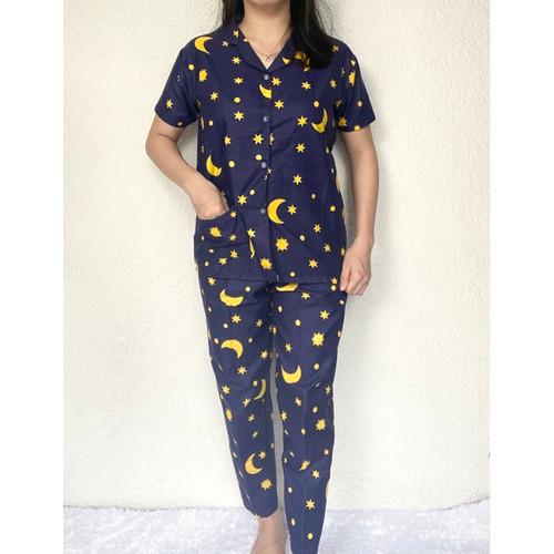 Foto Produk 77 Piyama wanita baju tidur cewek setelan baju tidur motif STARMOON - NAVY dari MEDOS