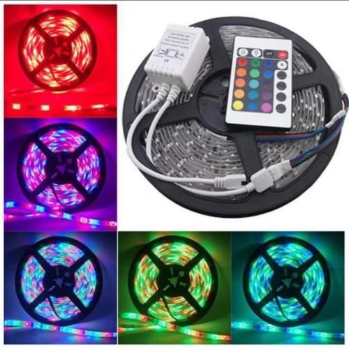 Foto Produk Lampu led strip RGB warna warni ip44 3528 komplit set adaptor remote dari starlight.electric