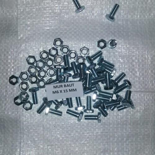 Foto Produk Mur baut M6 x 1,5 cm / Bmp M6 x 15 mm galvanis / Bmp 6mm panjang 15mm dari Juragan_Teknik
