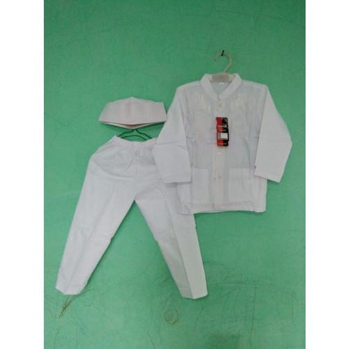 Foto Produk Baju Muslim | baju Koko Tangan panjang Anak 2 – 3 Tahun Warna Putih - Size 1 dari Zarka Baby Shop