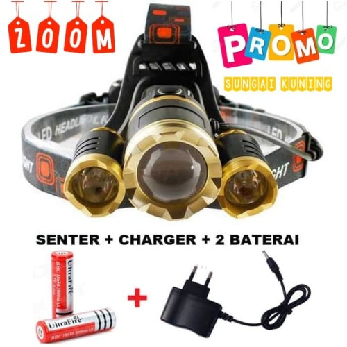 Foto Produk PROMO PAKET Senter kepala LED / Headlamp LED Cree XML T6 10000 Lumens dari Sungai Kuning