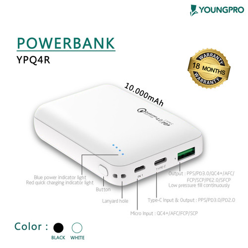 Foto Produk Youngpro YPQ-4R - Powerbank 10.000mAh - Power Bank Qualcomm 4.0 Fast - Putih dari YOUNGPRO INDONESIA