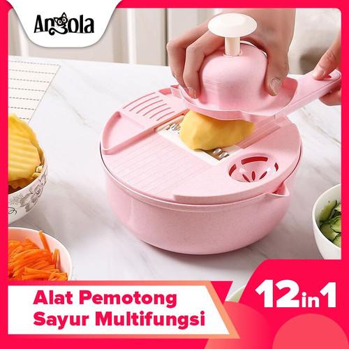 Foto Produk Angola Alat Potong Kentang Sayur E01 Pengiris ParutanvChopper Kitchen - Merah Muda dari Angola Official Store