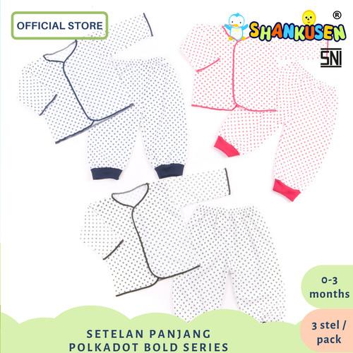 Foto Produk Setelan Baju Bayi Panjang Shankusen Polkadot Bold Series (3 stel) dari Shankusen Baby Official