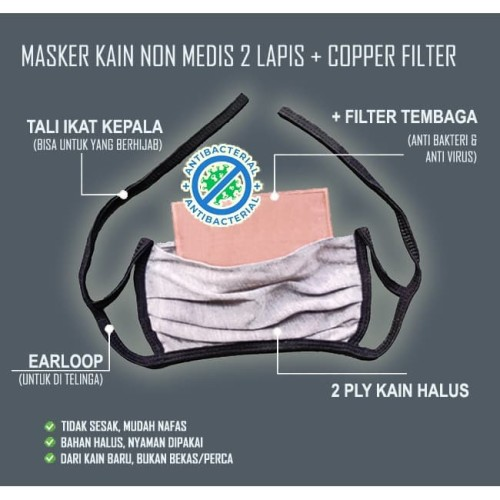 Foto Produk Masker Kain Plus Filter Lapis Tembaga - Earloop dan Tali dari Situs Digital
