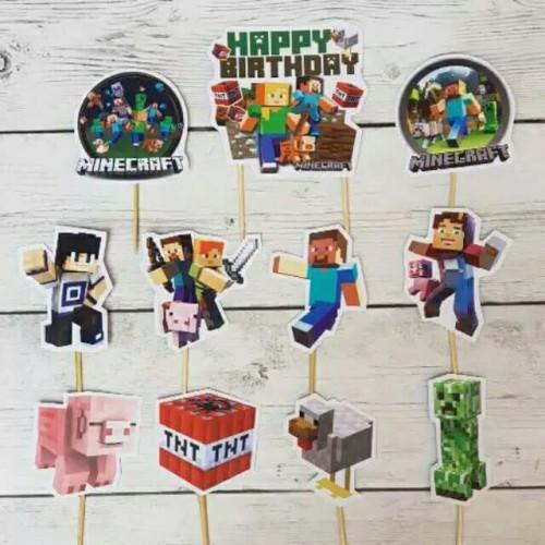 Foto Produk topper hiasan kue cup cake ulang tahun karakter minecraft mine craft dari rean shoop