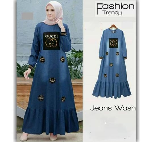 Foto Produk Gamis Jeans GG / Dress / Baju Muslim / Pakaian Wanita Model Terbaru - XL dari twins colections1