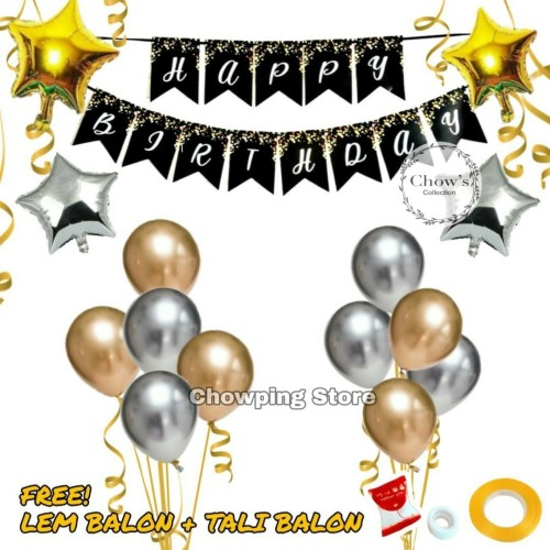 Foto Produk Paket Dekorasi Hiasan Balon Ulang Tahun / Happy Birthday Tema Gold 06 dari Chowping Store