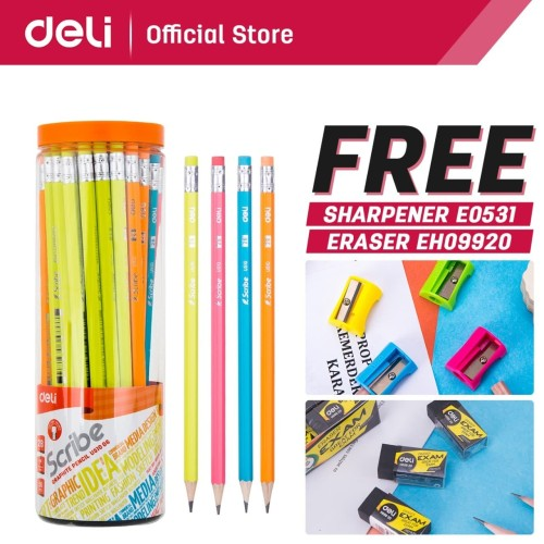 Foto Produk Deli Pensil / Pencil - 2B 50pcs/tabung - Sudah diasah EU51006 dari Deli Stationery