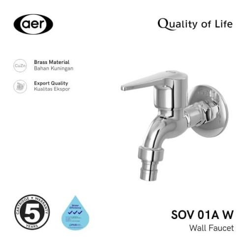Foto Produk AER Kran Air Tembok Kuningan/Untuk Mesin Cuci/Wall/Washing SOV 01A W dari AER Sanitary Indonesia