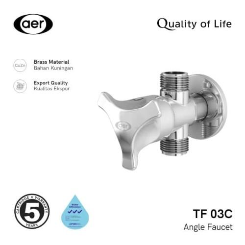 Foto Produk AER Kran Shower Cabang Kuningan / Brass Two Ways - Angle Faucet TF 03C dari AER Sanitary Indonesia