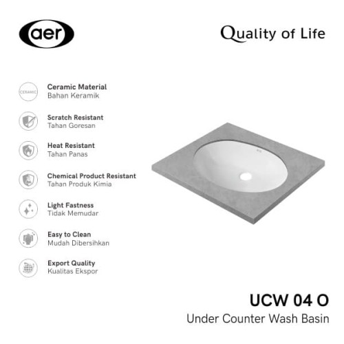Foto Produk AER Under Counter Washbasin / Wastafel Tanam UCW 04-O dari AER Sanitary Indonesia