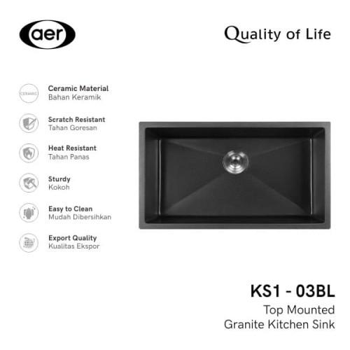 Foto Produk AER Granite Kitchen Sink - Bak Cuci Piring Granit KS1-03 BL dari AER Sanitary Indonesia