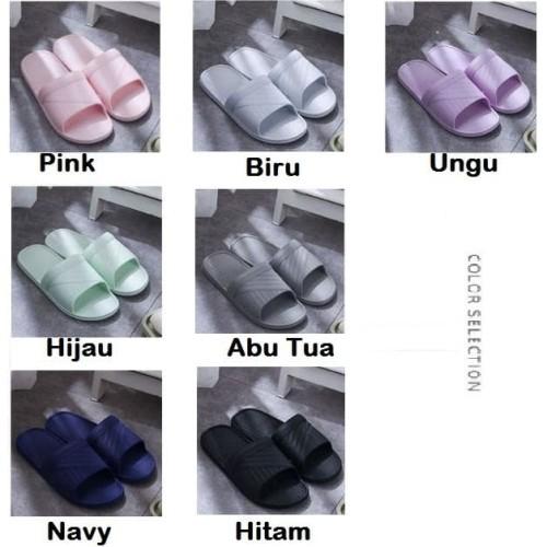 Foto Produk Sandal Rumah/Sandal Motif Garis Lurus/Selop Rumah/Sandal indoor - Putih, 38-39 dari BabyFb