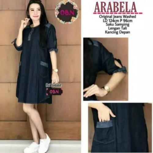 Foto Produk Baju Dress Kemeja Tunik Rok Kerah Kancing Wanita Jeans Denim Polos Ori dari Arabela Shop Official