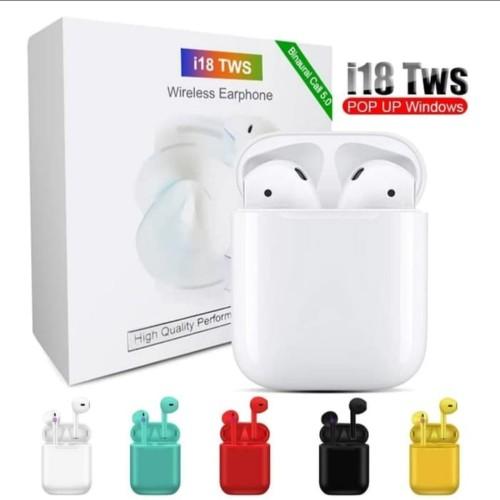 Foto Produk Headset Bluetooth Airpods I18 TWS Wireless Sport Earphone I 18 TWS - Putih dari MQDL Shop