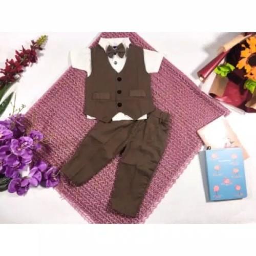 Foto Produk jas formal tuxedo baju anak bayi laki laki 3 bulan - 2 tahun pesta - Cokelat, Size 3 dari haze corner
