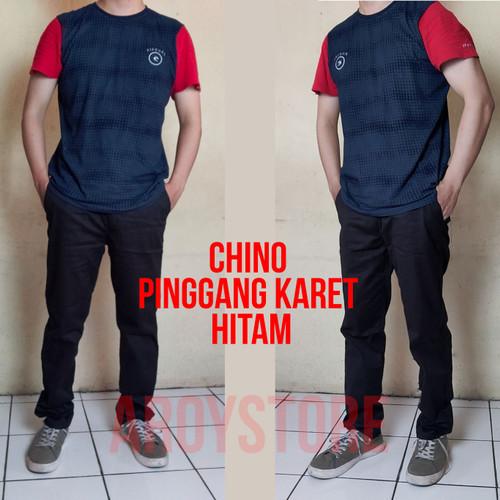 Foto Produk Celana Panjang Chino Pinggang Karet. No Oversized/No Undersized - Hitam, XS dari aroystore