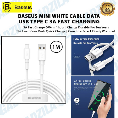 Foto Produk BASEUS MINI WHITE CABLE KABEL DATA USB TYPE C 3A FAST CHARGING 1METER dari GADZILA STORE
