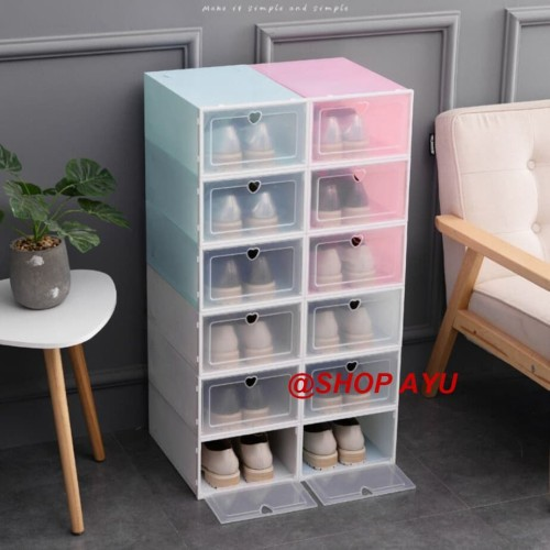 Foto Produk Kotak sapatu lipat Box rak sepatu Kotak penyimpanan Tempat rak shoes - Merah Muda dari SHOP AYU