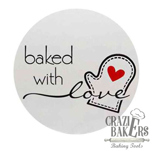 Foto Produk Label Sticker Seal Baking Serbaguna Baked With Love (50 Sticker) - Putih dari CrazieBakers BakingTools