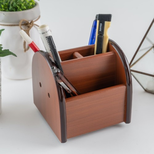Foto Produk UCHII MOKUZAI Rotating Pen Holder Wood | Organizer Meja Kantor Kerja dari uchii store