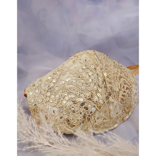 Foto Produk Masker Pengantin Embroidery Gold- Kualitas Premium - Brokat/Payet dari jakahong studio