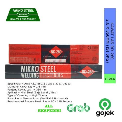 Foto Produk NIKKO STEEL Kawat Las RD260 RD-260 2.6mm X 350mm Isi 5Kg dari Teknik Maju Jaya Abadi