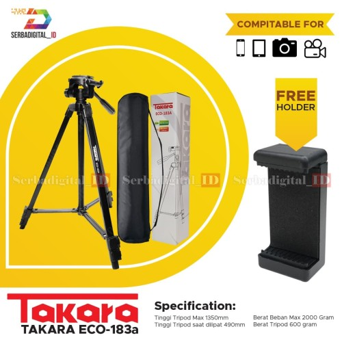 Foto Produk TAKARA ECO-183A Lightweight Tripod With Bag Free Holder For SmartPhone dari serbadigital-id