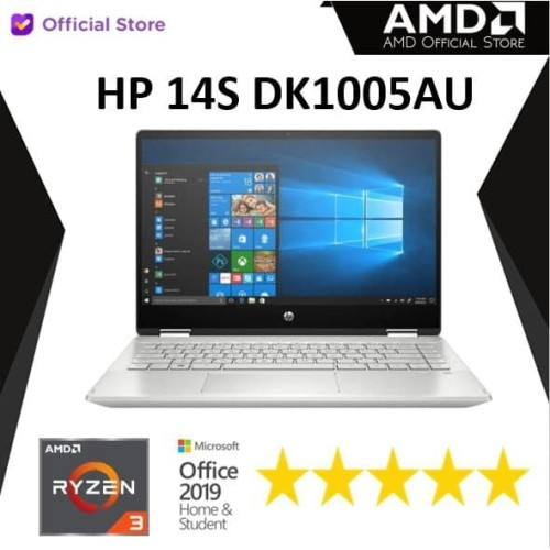 Foto Produk HP 14s DK1005AU   Ryzen 3 3250 8GB 1TB+256ssd W10+OHS 14FHD dari AMD Official Store