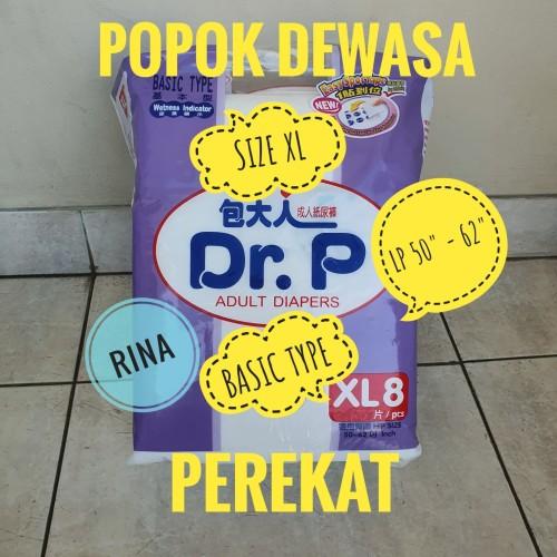 Foto Produk Adult Diapers Dr. P Size XL isi 8 Popok Dewasa Unisex Basic Type dari Rina