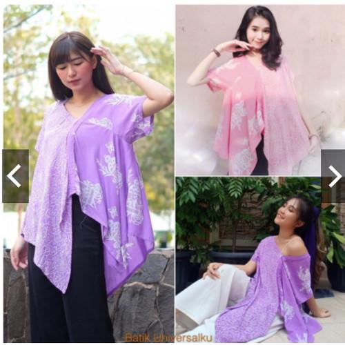 Foto Produk Blouse Batik Wanita Atasan Dwiduo - Megamendung Sangkar Kupu Butterfly - Ungu dari Batik Universal