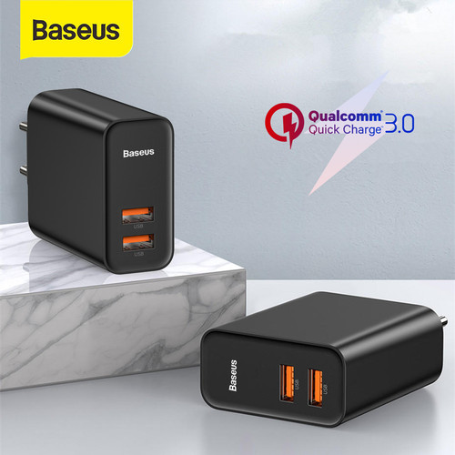 Foto Produk KEPALA CHARGER BASEUS QUICK CHARGER QC3.0/4.0 TYPE-C+USB 30W PD 5A - USB USB HITAM dari Baseus Official Store