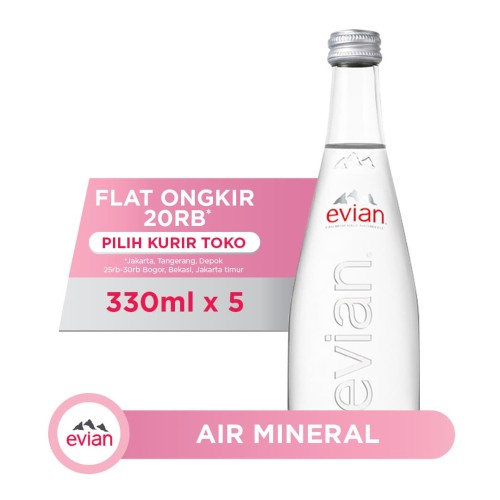 Foto Produk Evian Natural Spring Water Glass Bottle (5x330ml) dari AQUA Official Store