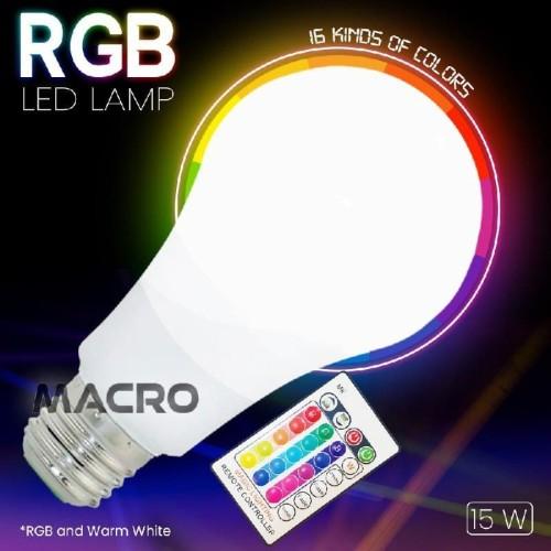 Foto Produk LAMPU BOHLAM RGB E27 DENGAN REMOTE CONTROL 15W dari MACRO