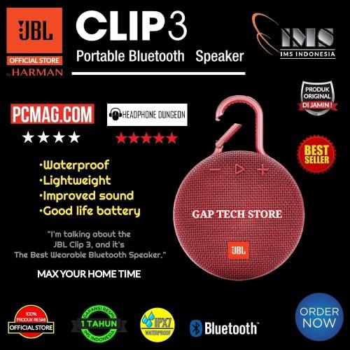 Foto Produk JBL Clip 3 / Clip3 Portable Waterproof Wireless Bluetooth Speakers - Fiesta Red dari GAP TECH STORE