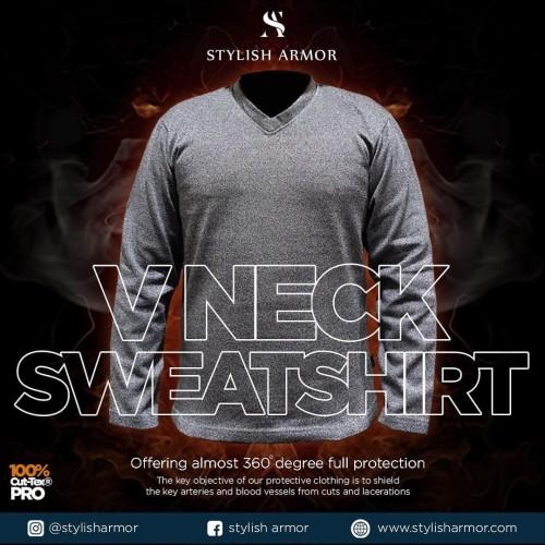 Foto Produk Stylish Armor V Neck LS Sweatshirt , V Neck lengan panjang - Abu-abu, S dari STYLISH ARMOR
