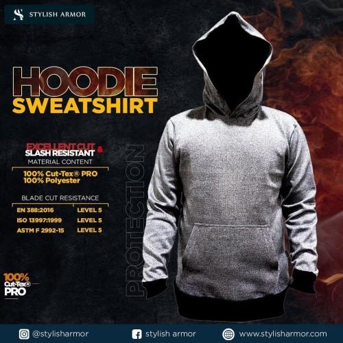 Foto Produk STYLISH ARMOR Hoodie Sweatshirt with Pocket / Jaket anti sajam tusuk - Abu-abu, S dari STYLISH ARMOR